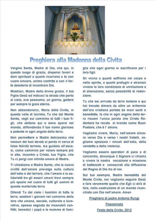 Preghiera alla Madonna della Civita- Anno 2012